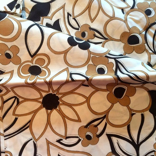 1960s Danish Modern Floral Print Fabric - 3 Yards - Image 2 of 3
