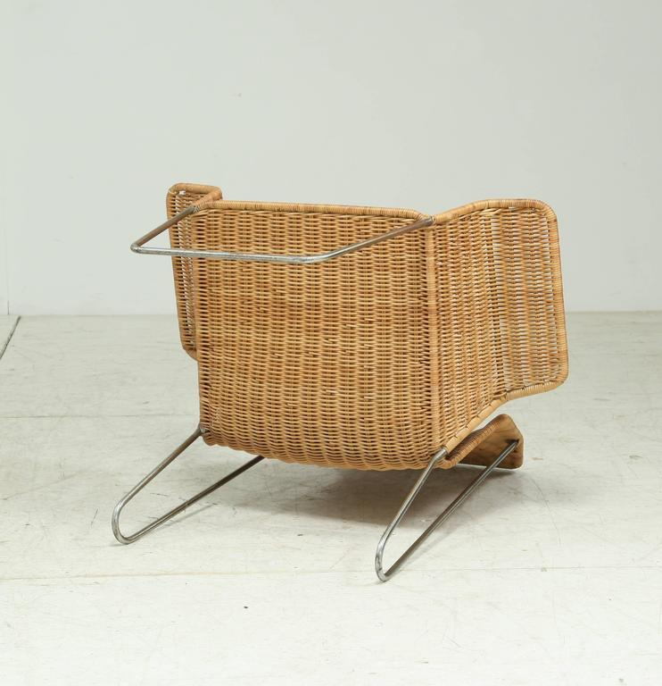 Dutch Design Rattan Armchair On A Bent Iron Frame, 1960s   Image 6 Of 6