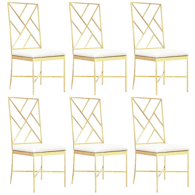 Worlds Away Ashton Gold Chairs, White – Set Of 6 - Image 1 of 2