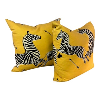 Contemporary Scalamandre Yellow Zebra Pillows - a Pair For Sale