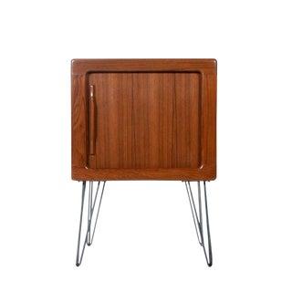 Danish Teak Tambour Door Media Cabinet Nightstand With Carved Teak Pulls For Sale
