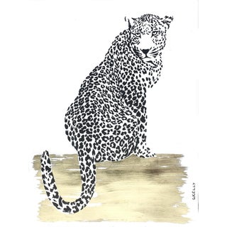 Cheetah Gold Leaf Painting by Gretchen Kelly For Sale