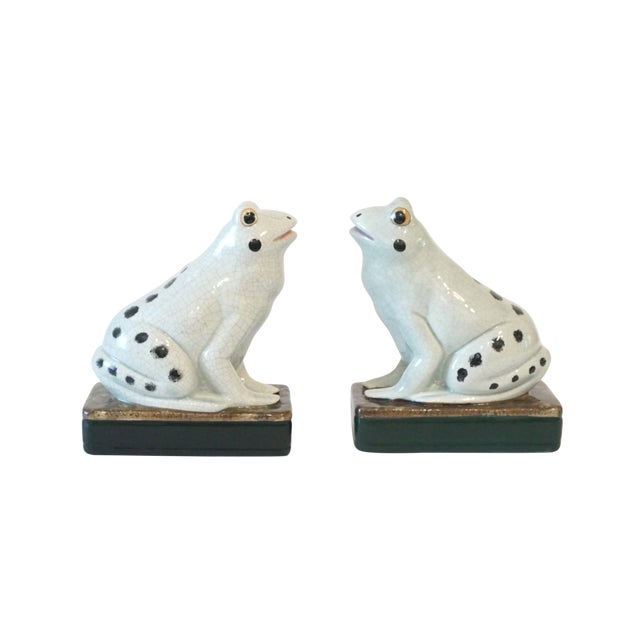 1960s Celadon Staffordshire Style Frog Figurines - a Pair For Sale - Image 5 of 5