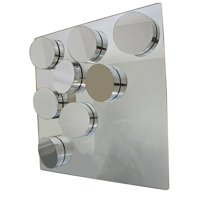 Glass Mid-Century Modern John Leslie Sculptural Hanging Mounted Art Mirror, 1970s For Sale - Image 7 of 7