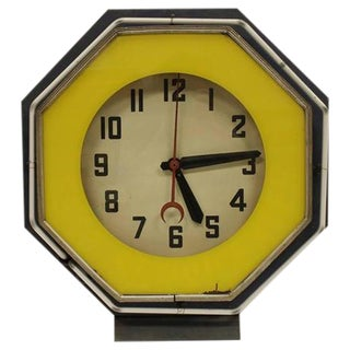 1930's Vintage American Green Neon Clock For Sale