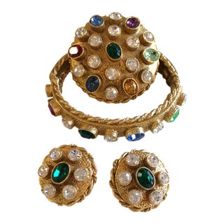 1960's Parure Suite - Bracelet and Clip Earrings and Brooch by Art For Sale