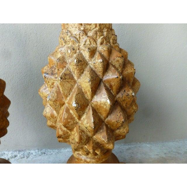 1970s 1970s Italian Haute Design Carved Wood Pineapple Lamps - a Pair For Sale - Image 5 of 9