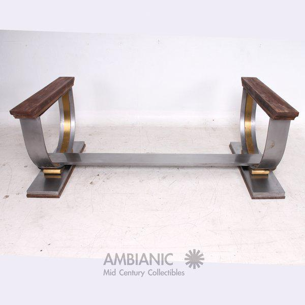Brass Steel and Brass Dining Table Base Attributed to Arturo Pani For Sale - Image 7 of 7