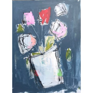"""Scrappy Flowers"" Contemporary Abstract Floral Painting For Sale"