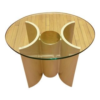 1980s Modern Lane White Lacquer, Brass & Glass Sculptural End Table Stand For Sale