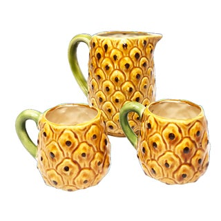 Majolica Pineapple Pitcher & Mugs - Set of 3 For Sale