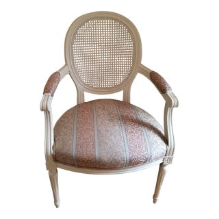 Louis XVI Style Caned Oval Back Armchair For Sale