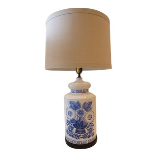 Blue and White Ceramic Table Lamp For Sale