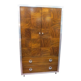 1970s Vintage Mid Century Modern Chrome and Burled Wood Armoire For Sale