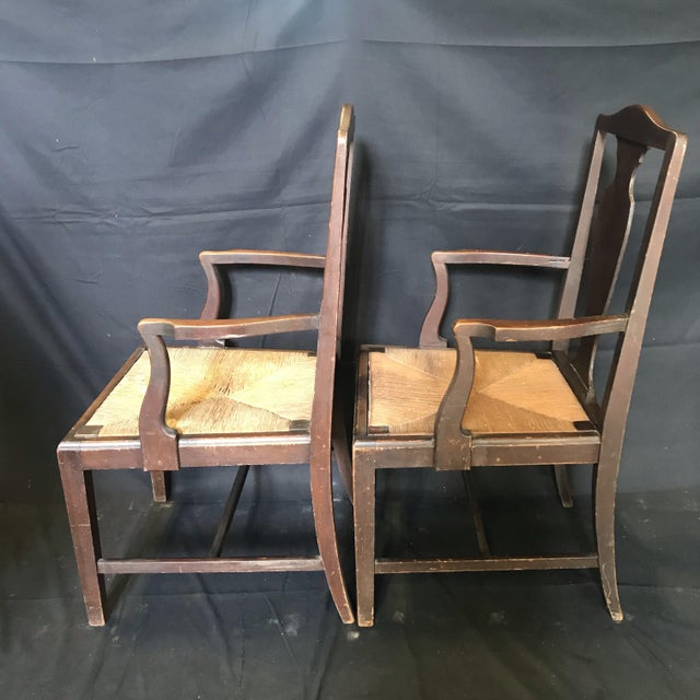 Period British Chippendale Armchairs With Rush Seats -A Pair For Sale - Image 4 of 7