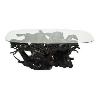Cypress Root Carved Galloping Horses Coffee Table