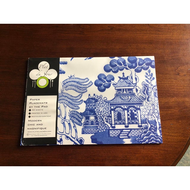 Blue Chinoiserie Paper Place Mats - Set of 50 For Sale In Nashville - Image 6 of 6