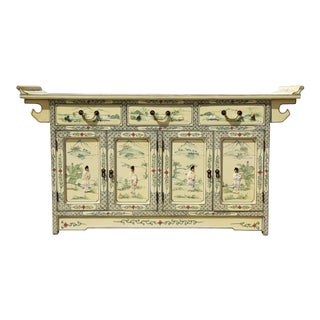Chinoiserie Yellow Painted Sideboard For Sale