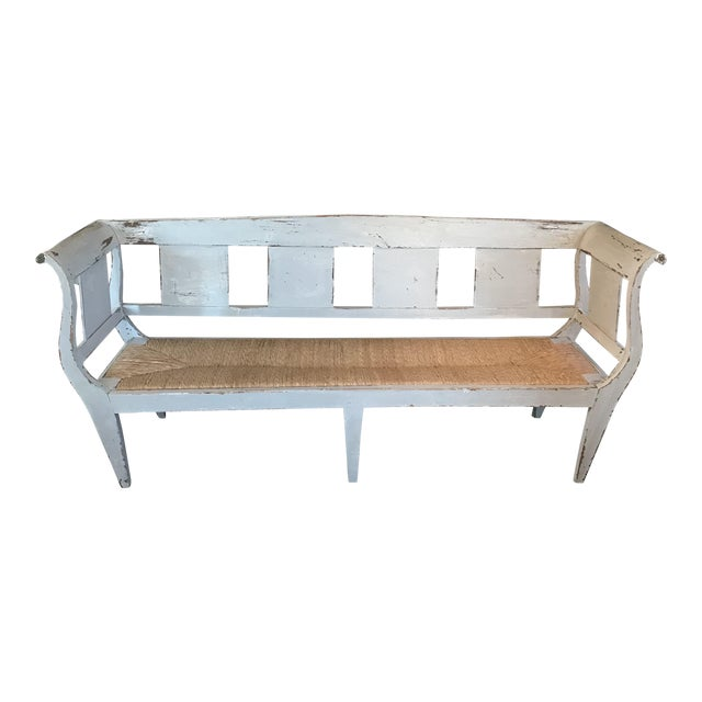 Gustavian Grey Painted Rustic Bench With Original Rush Seat For Sale