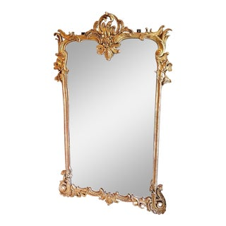 19th C Napoleon III Mirror in the Style of Louis XV With Carved Gilt Wood and Hand Beveled Glass For Sale