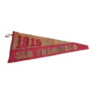 1915's Vintage Original Suede San Francisco Pennant For Sale