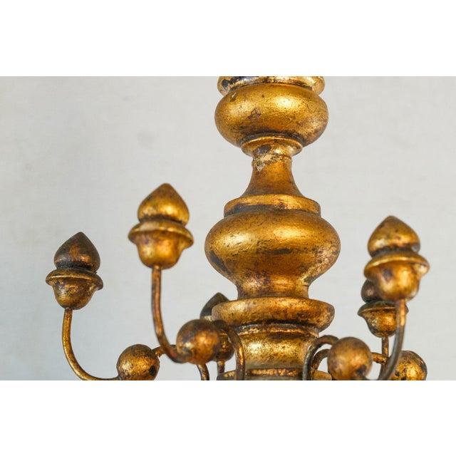 Baroque Stunning Giltwood Italian Chandelier For Sale - Image 3 of 11