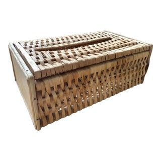 20th Century Boho Chic Natural Woven Wicker Rattan Tissue Box Cover For Sale