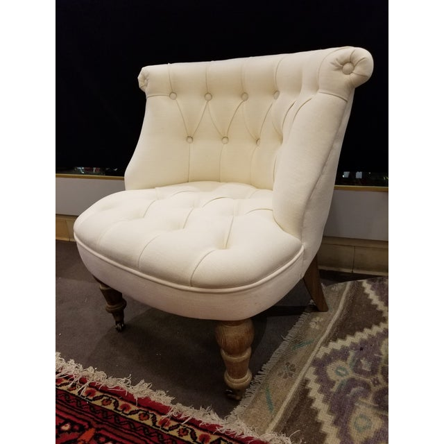 Textile Ivory Linen Tufted Slipper Chair For Sale - Image 7 of 7