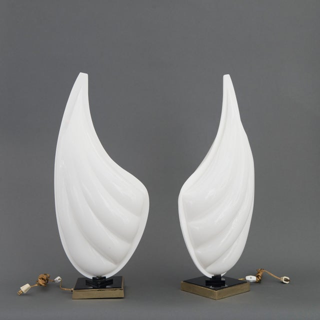 Signed Pair of Mid Century Modern Rougier Lucite / Resin and Brass Sea Shell Lamps - Image 2 of 6