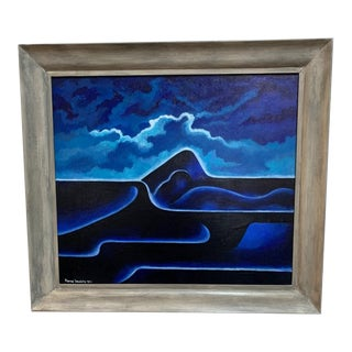 Harry Brodsky - 1950s Blue Abstract Landscape Oil Painting For Sale