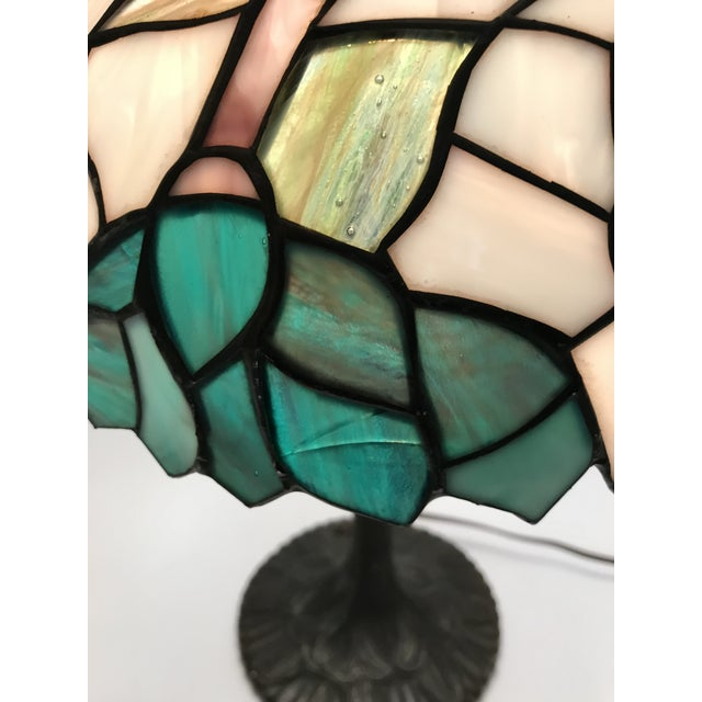 Vintage Tiffany Style Stained Glass Table Lamp For Sale - Image 9 of 10