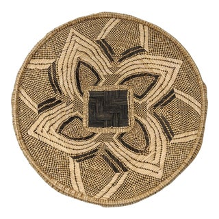 African Tribal Black and Brown Ilala Palm Organic Natural Straw Hand Woven Tonga Basket For Sale