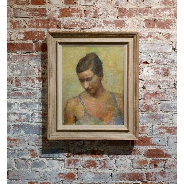 Mid-Century Modern Stevan Kissel - Portrait of a Female Dancer - Oil Painting - Pointillism For Sale - Image 3 of 13