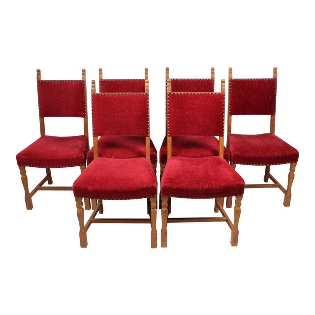 Set Of 6 Dining Chairs: Bavarian-Style Oak Dining Chairs - Set Of 6