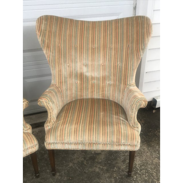 Boho Chic Mid-Century Modern Rainbow Velveteen Wingback Chairs - a Pair For Sale - Image 3 of 13