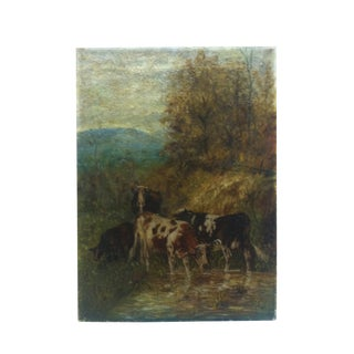 """Vintage Painting on Canvas, """"The Watering Hole"""" by C. Raible, 1914 For Sale"""