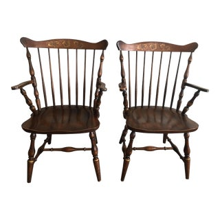 Late 20th Century Vintage L. Hitchcock Windsor Harvest Stenciled Arm Dining Chairs- A Pair For Sale