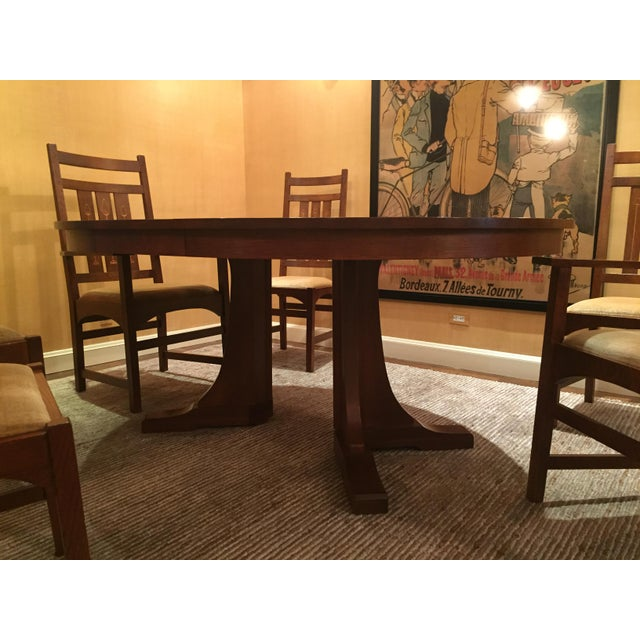 Mission Stickley Pedestal Dining Table & Harvey Ellis Chairs For Sale - Image 3 of 9