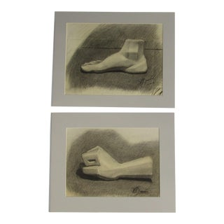 Foot and Fist Original Drawings - A Pair