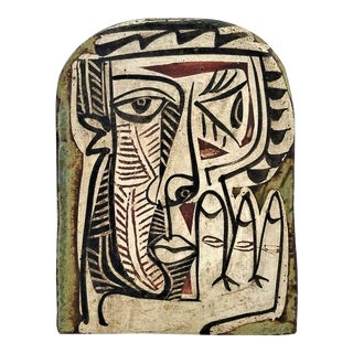 Picasso Style Vintage Ceramic Wall Plaque by Alfajar Spain. -- Cubist Abstract Sculpture Palm Beach Boho Chic Mid Century Modern For Sale