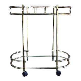 Brass and Glass Bar Cart & Serving Tray