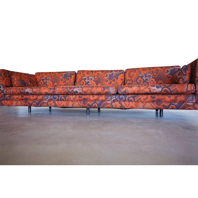 """Mid 20th Century Harvey Probber Tuxedo Sofa with Jack Lenor Larson """"Happiness"""" Upholstery For Sale - Image 5 of 8"""