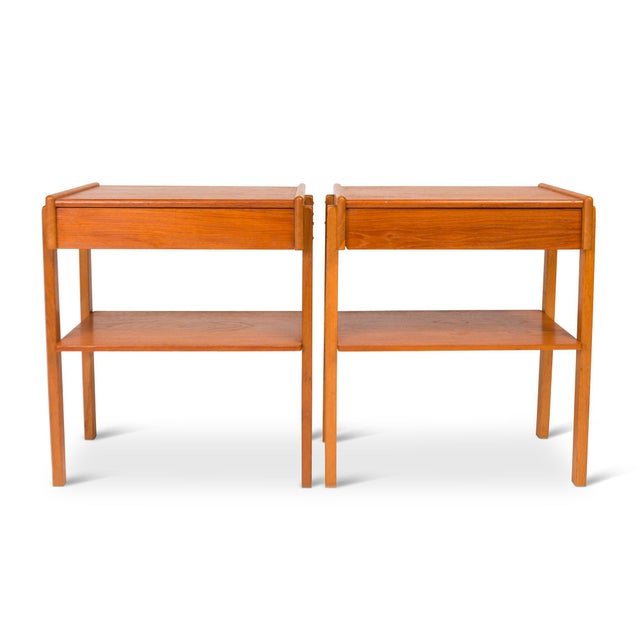 Vintage Danish Mid-Century Teak Nightstands (Pair) For Sale - Image 11 of 11