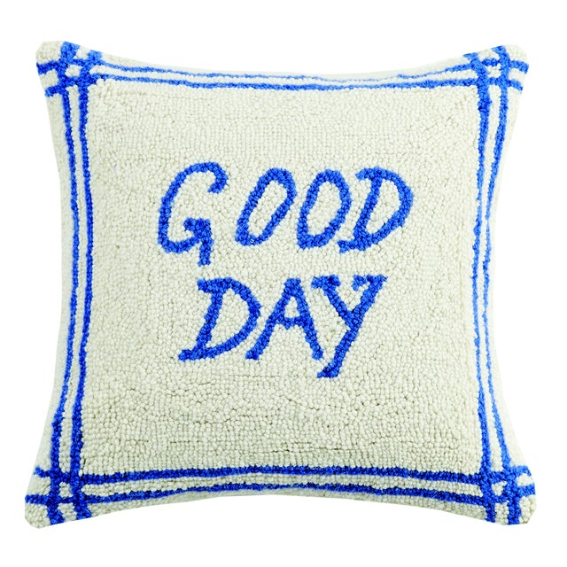 Contemporary Good Day Hooked Wool Pillow For Sale - Image 3 of 3