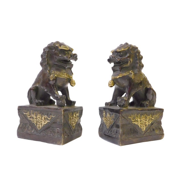 Brown Bronze Golden Fengshui Foo Dogs - Pair - Image 3 of 6