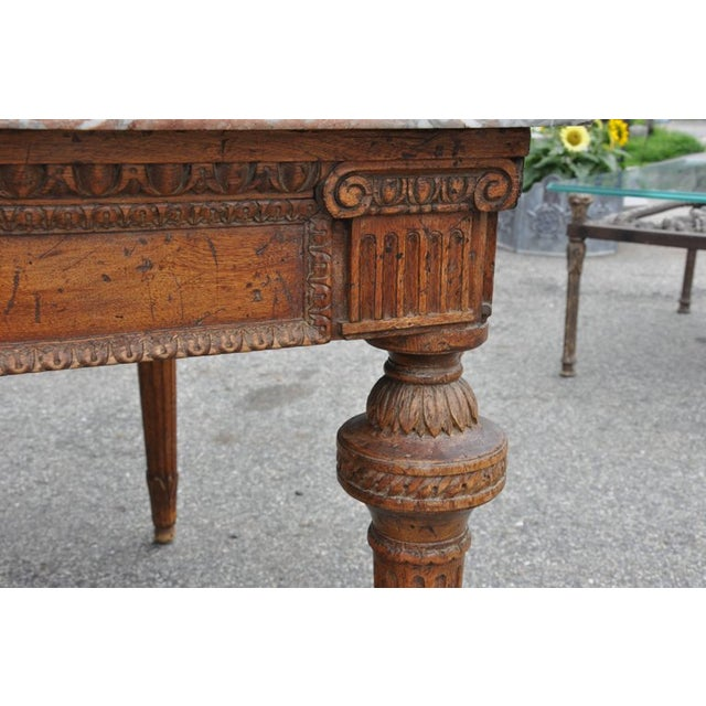 Early 19th century French Provincial neoclassical center table in the Louis XVI style Six sided and with six (Louis XVI)...