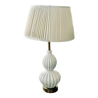 White Gold Ridged Double Gourd Lamp and Wide Modern Lampshade For Sale