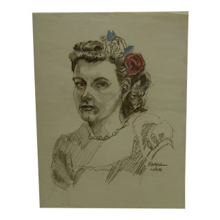"Tom Sturges Jr. 1950 ""Colored Flowers"" Original Drawing For Sale"