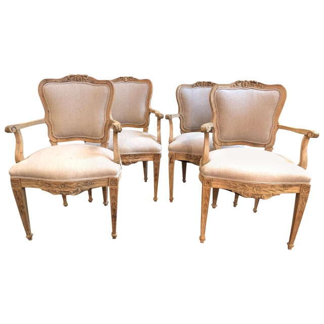 Set of 4 18th Century French Armchairs Made of Bleached Walnut For Sale