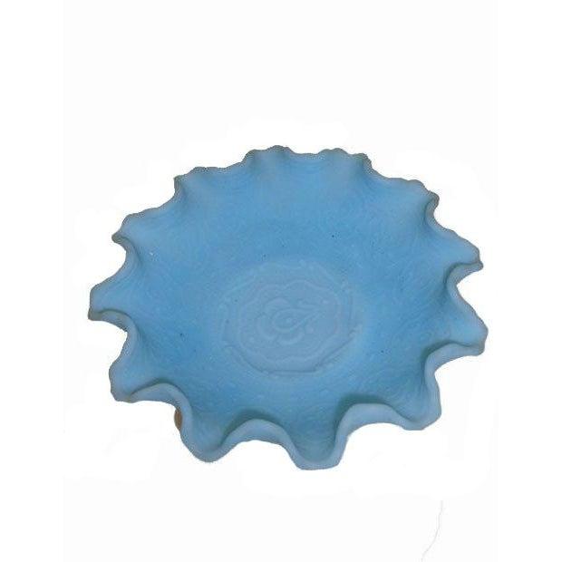 Fenton Blue Satin Glass Ruffled Bowl - Image 2 of 4